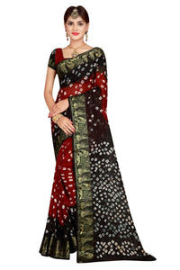 Womens Art Silk Black & Red Bandhej Bandhani Saree