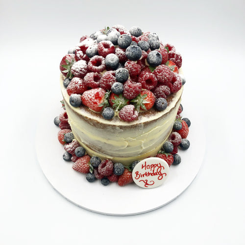 Semi Naked Iced Cake with Abundance of Fresh Fruit