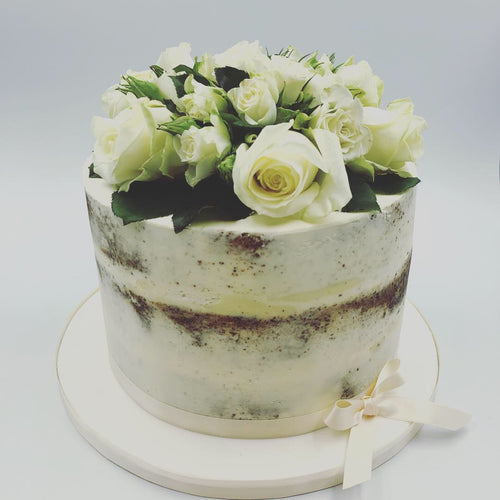 Semi Naked Iced Cake with Fresh White Roses - Cheltenham Birthday Cakes