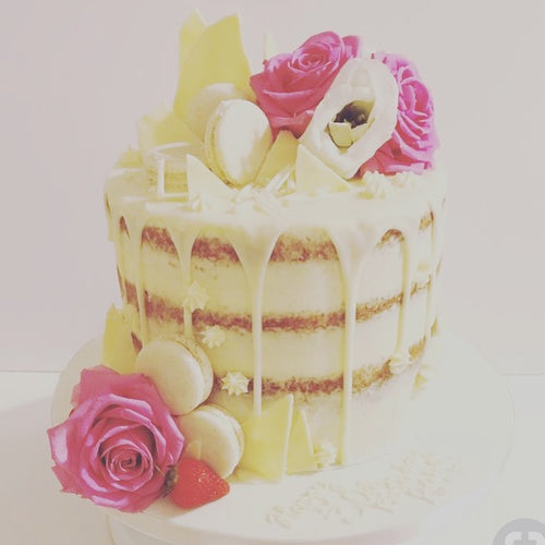 White Chocolate Semi Naked Drip Cake