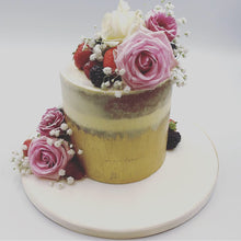 Load image into Gallery viewer, Gold Semi Naked Cake - Cheltenham Birthday Cakes