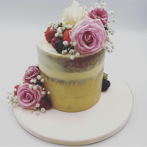 Gold Semi Naked Cake - Cheltenham Birthday Cakes