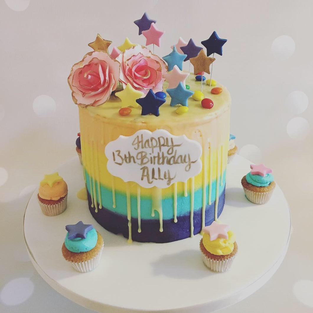 Colourful Buttercream Drip Cake