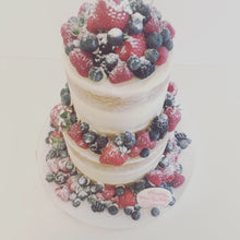 Load image into Gallery viewer, Two Tier Semi Naked Cake with an Abundance of Fresh Fruit