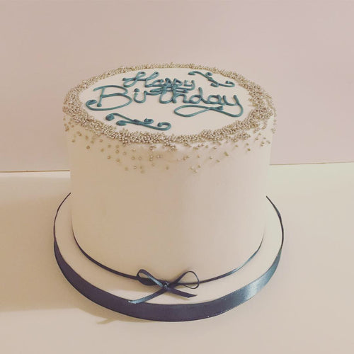 White birthday cake - cheltenham birthday cakes