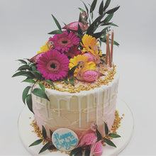 Load image into Gallery viewer, Pink Tropical Buttercream Drip Cake