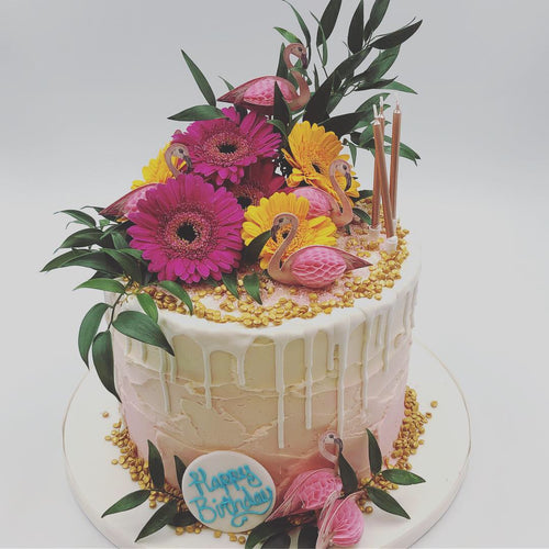 Pink Tropical Buttercream Drip Cake