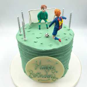 Handmade Sugar Football Figures and Buttercream Cake - Cheltenham Birthday Cakes