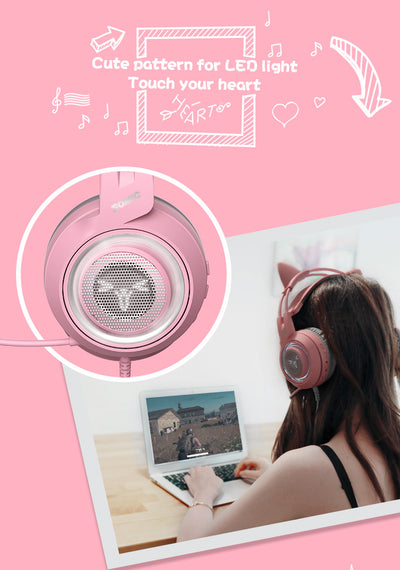 G9 Pink Cat Ears Gaming Headset