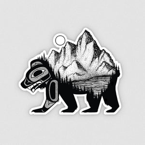 "Bear + Mountain - 4"" Sticker"