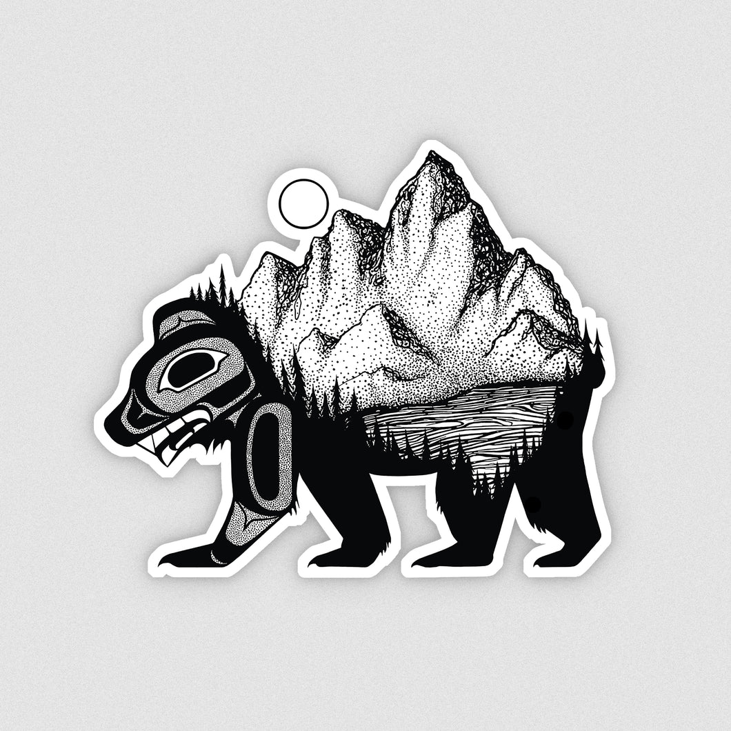 Bear & Mountain Vinyl Sticker
