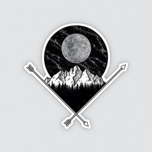 Load image into Gallery viewer, black and white illustrated full moon and mountain vinyl sticker