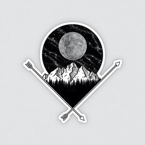 black and white illustrated full moon and mountain vinyl sticker