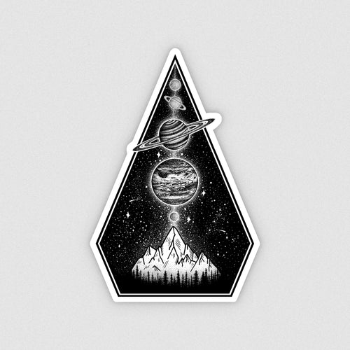 Planets & Mountains Vinyl Sticker