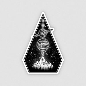 vinyl laptop sticker of planets and a mountain