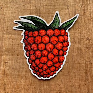 red illustrated salmonberry vinyl laptop sticker