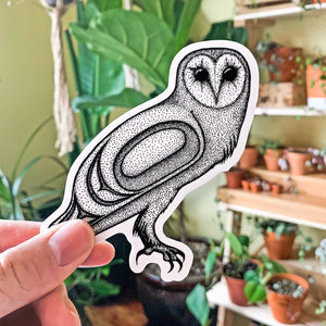 Black and white laptop vinyl sticker with Tlingit barn owl design