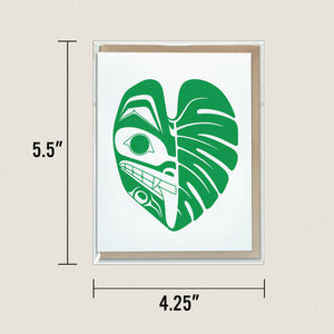 Monstera Wolf Greeting Card