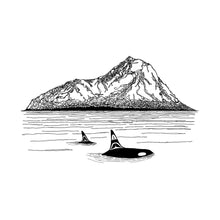 Load image into Gallery viewer, Killer Whales + Mountains Print