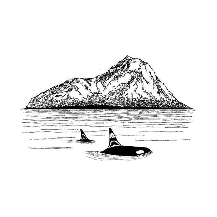 Killer Whales + Mountains Print