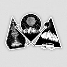 Load image into Gallery viewer, set of three laptop vinyl stickers with mountain illustrations