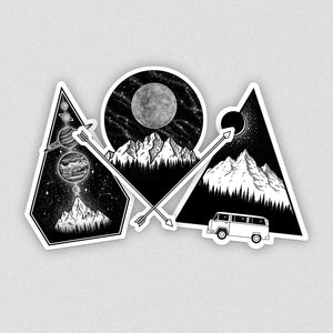 set of three laptop vinyl stickers with mountain illustrations