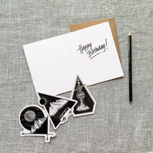 Load image into Gallery viewer, set of three mountain stickers and a greeting card that says happy birthday