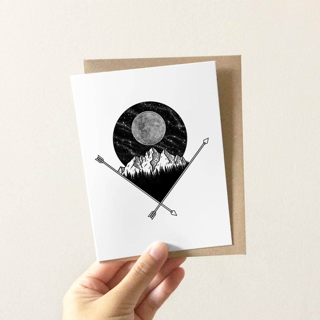 Full Moon & Mountains Greeting Card