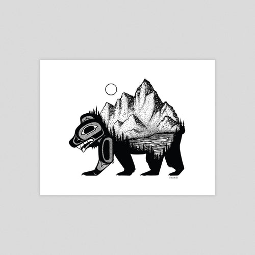 Bear & Mountain Art Print