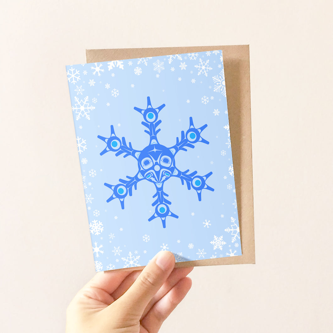 Snowflake Raven Greeting Card