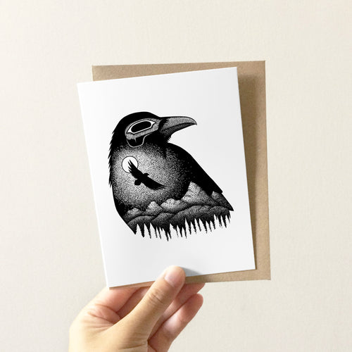 Moonlight Raven Greeting Card