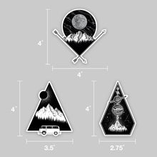 Load image into Gallery viewer, set of three north west coast vinyl stickers and measurements