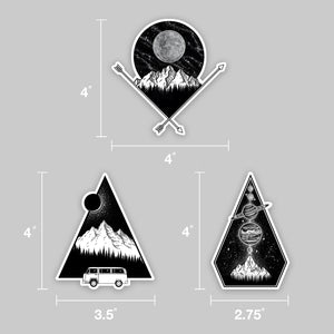 set of three north west coast vinyl stickers and measurements