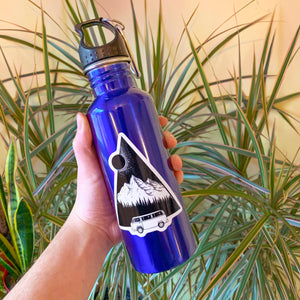 mountain sticker on blue water bottle