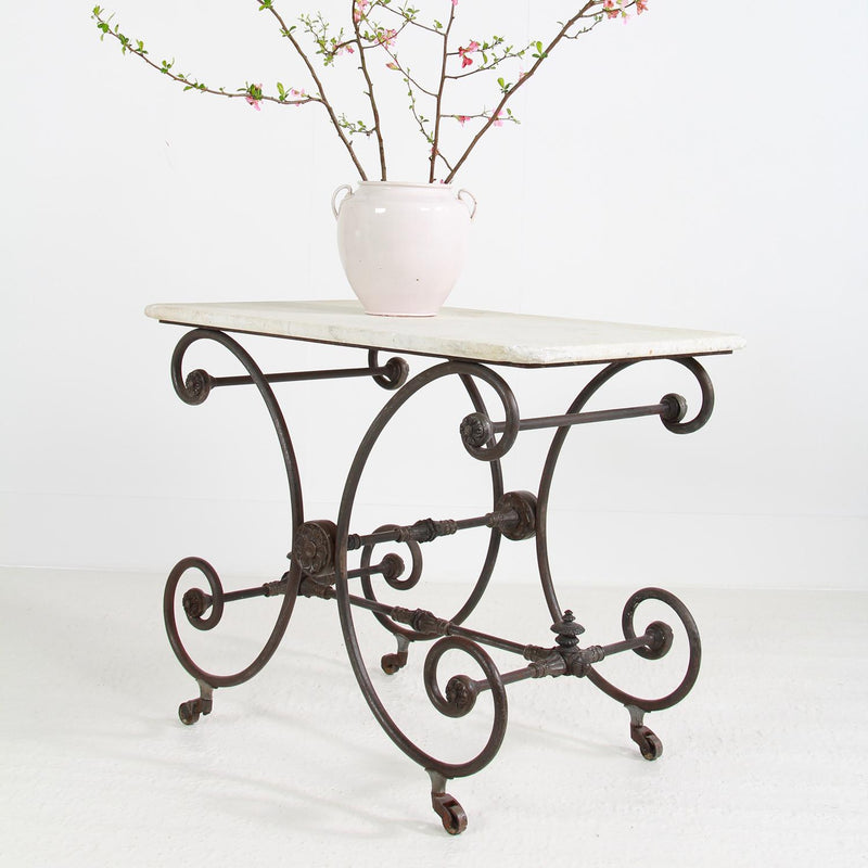 Antique French Iron and Marble-Top Pastry or Butcher Table