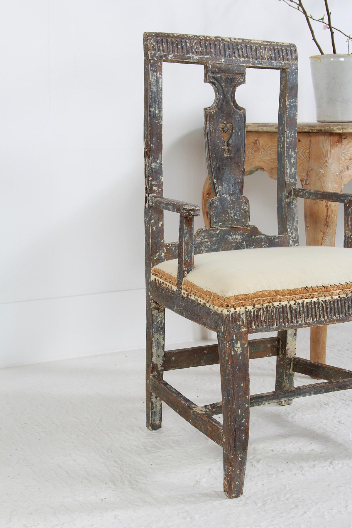 Stunning Original  18th Century Swedish Baroque Armchair