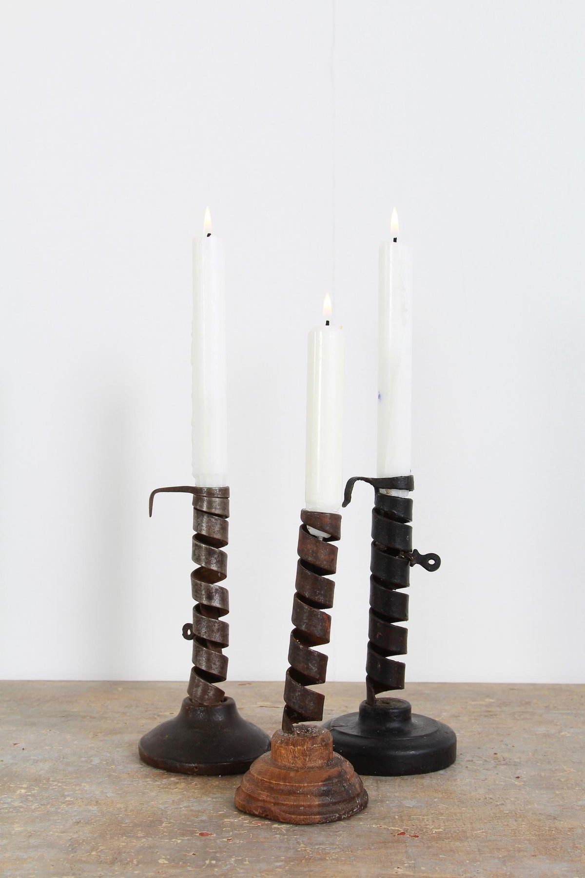 Primitive French 18th Century Rat De Cave Candleholders