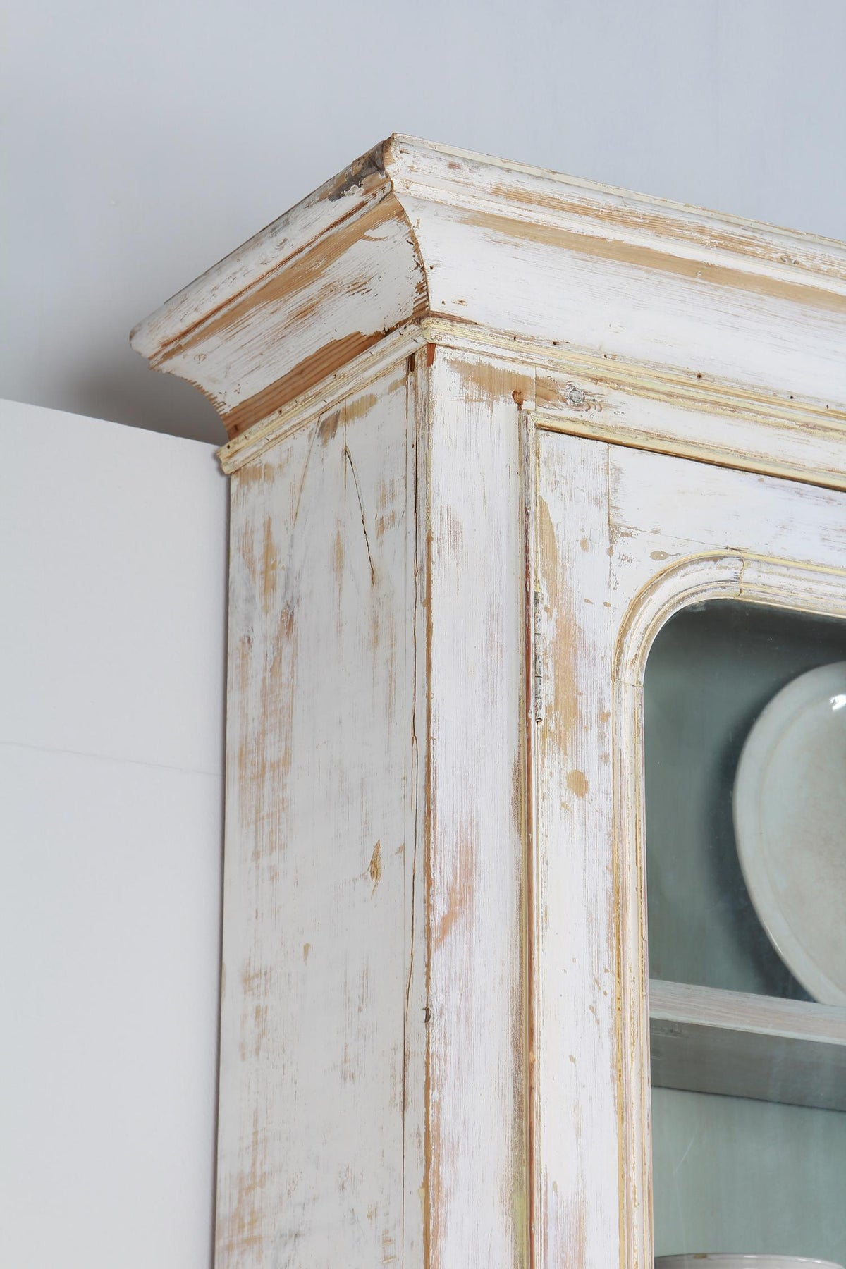 Monumental  French Mid-19th Century Painted Glazed  Display Cabinet