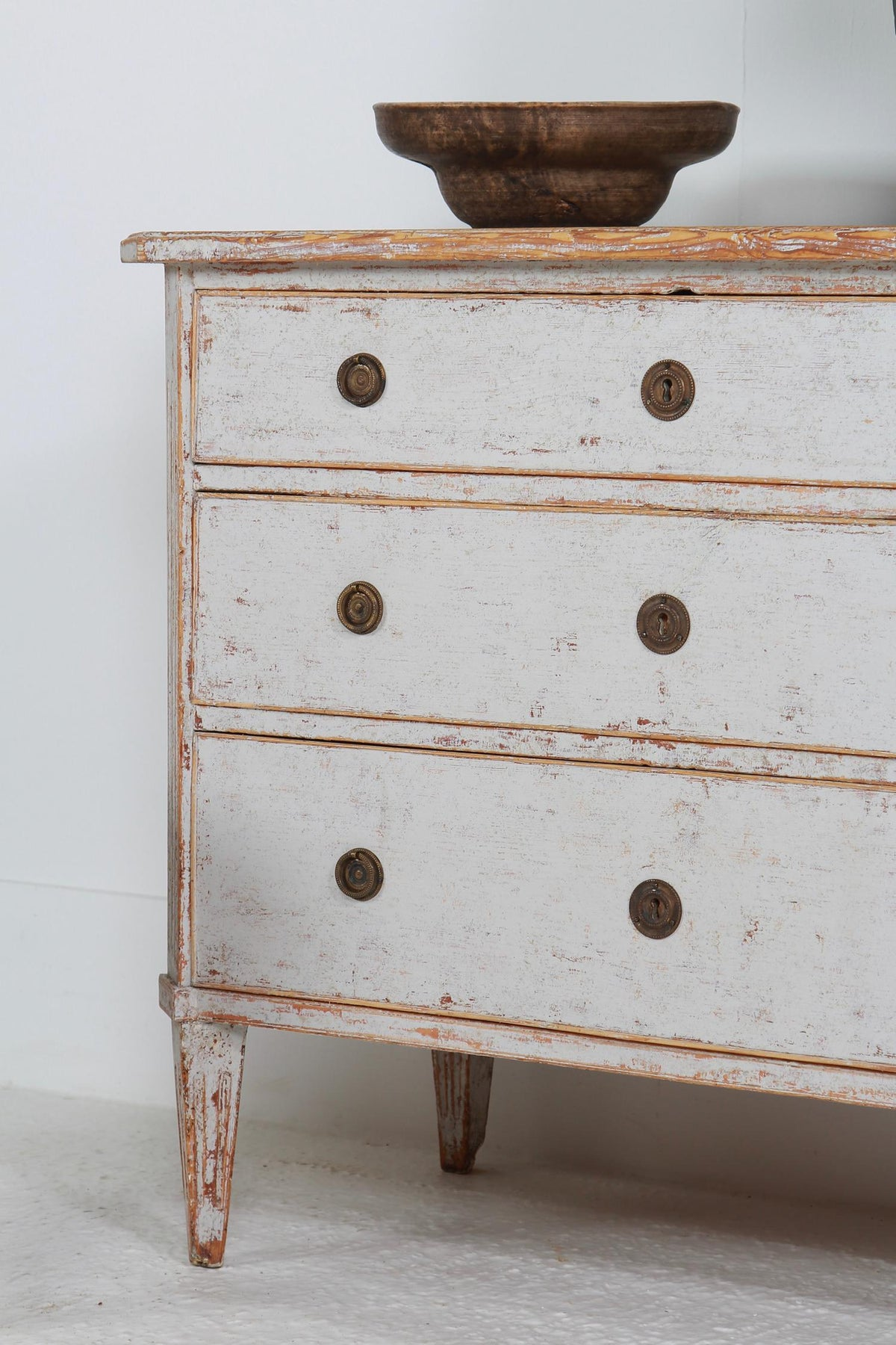 Swedish Gustavian  19thC  Painted Three-Drawer Commode