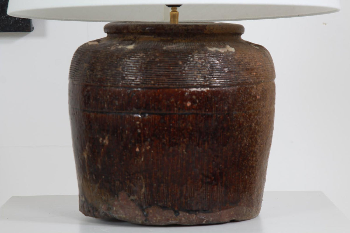 AUTHENTIC XXL ANTIQUE CHINESE STORAGE WINE JAR LAMP AND SHADE