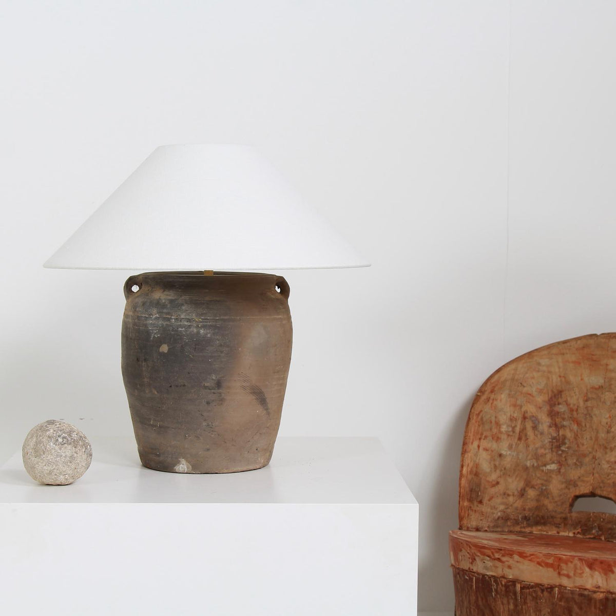 RUSTIC CHINESE TERRACOTTA TABLE  LAMP WITH WHITE LINEN SHADE