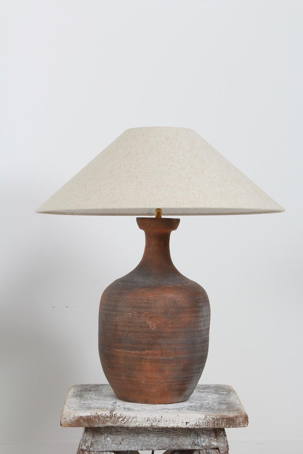 AUTHENTIC UNGLAZED TERRACOTTA JAR VASE LAMP WITH LINEN SHADE