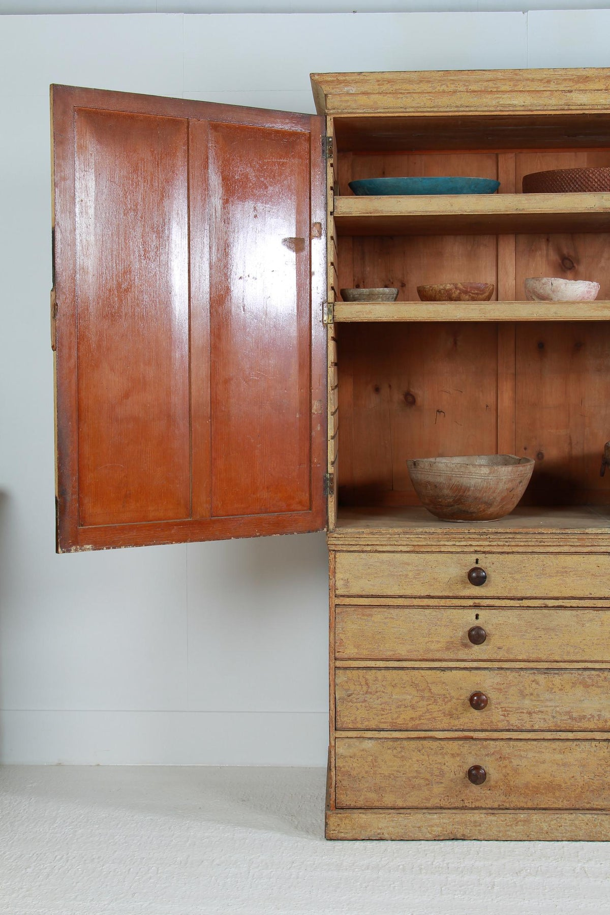 Magnificent English 19thC  Painted Housekeepers Cupboard