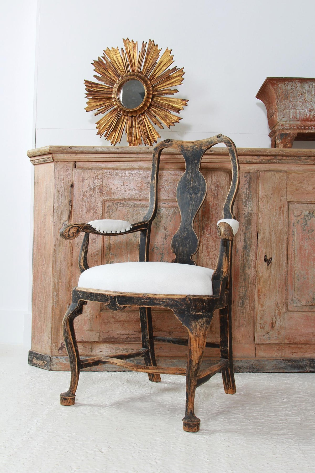 SWEDISH Period  18THC BLACK BAROQUE ARMCHAIR