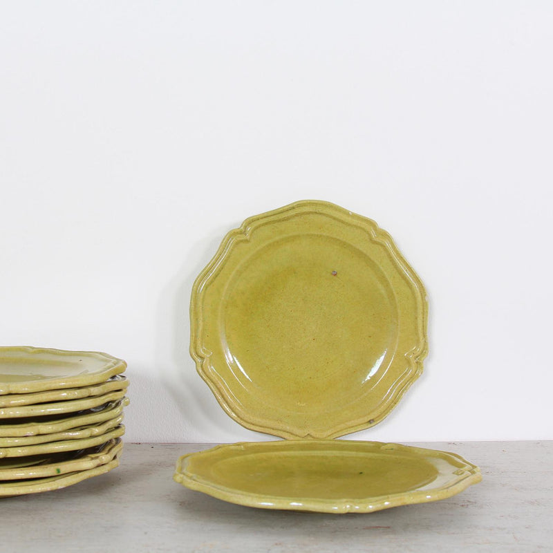 Set of 10 French Vallauris Ceramic Dinner Plates.