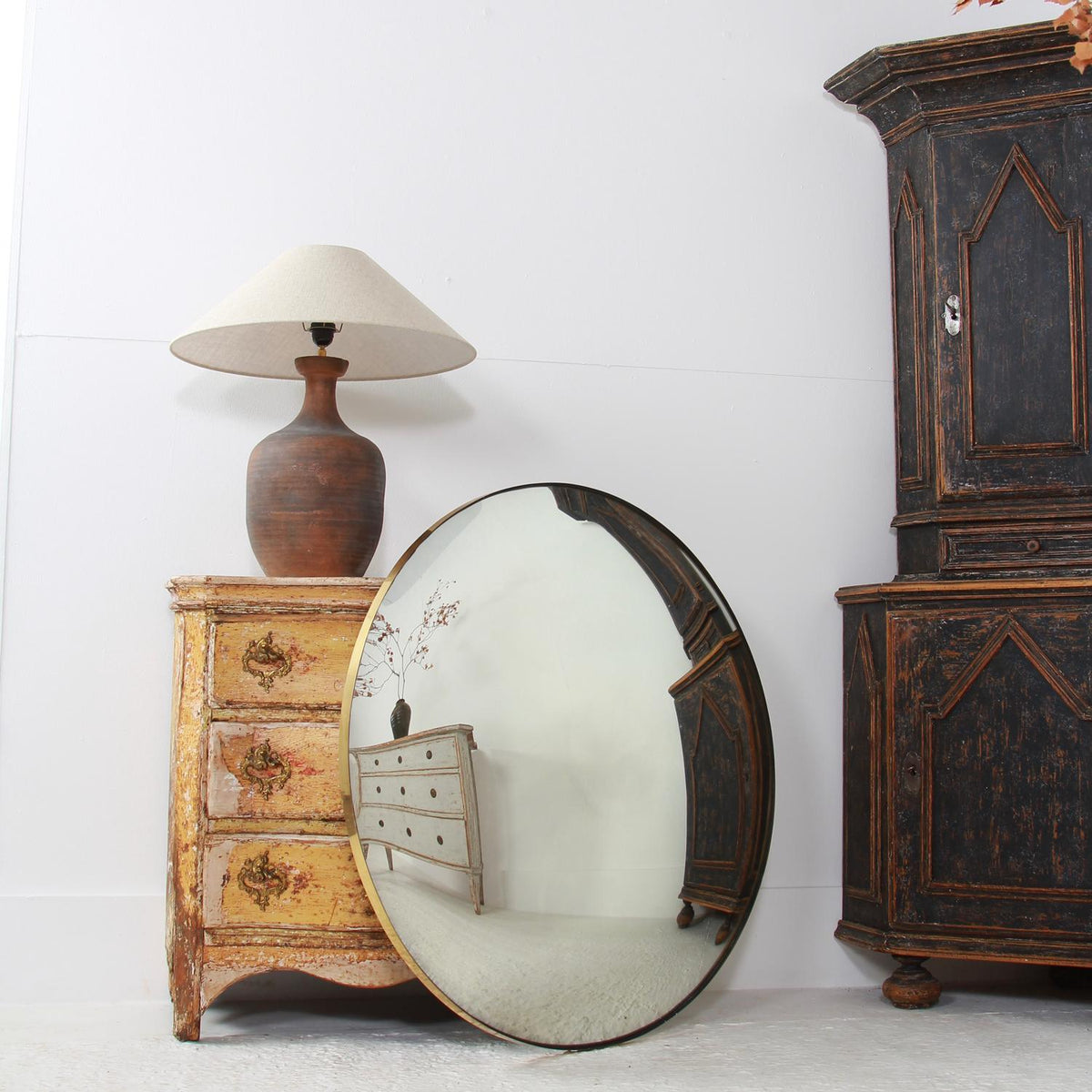 Stunning Modern Contemporary Convex Mirror with Brass Frame