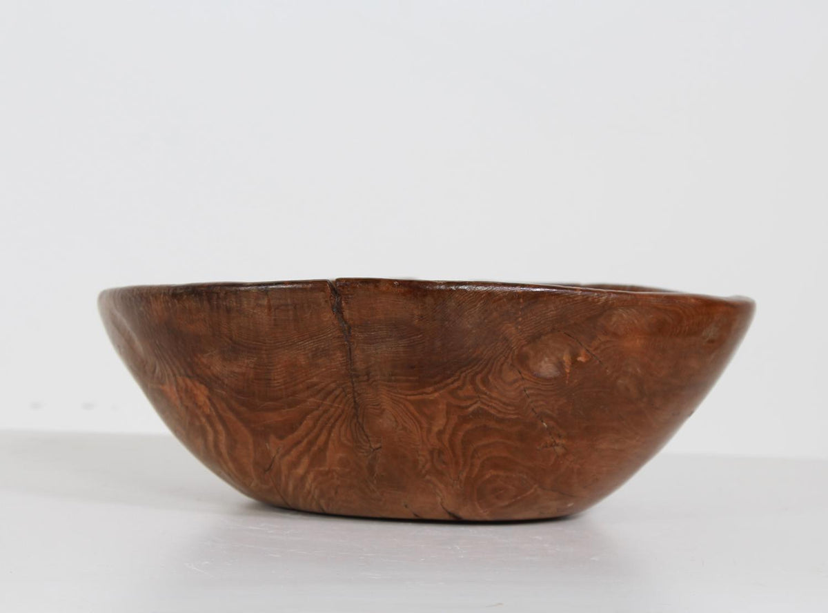 EXQUISITE DUG OUT PRIMITIVE SWEDISH ROOT BOWL DATED 1840
