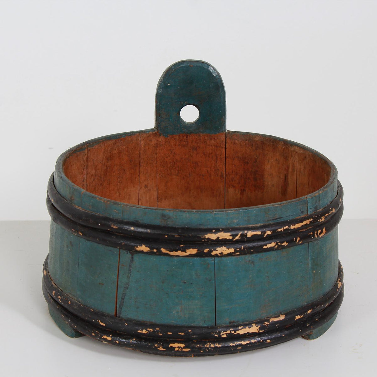 Swedish 19thC Folk Art Organic  Banded Vessel With Appealing Patina