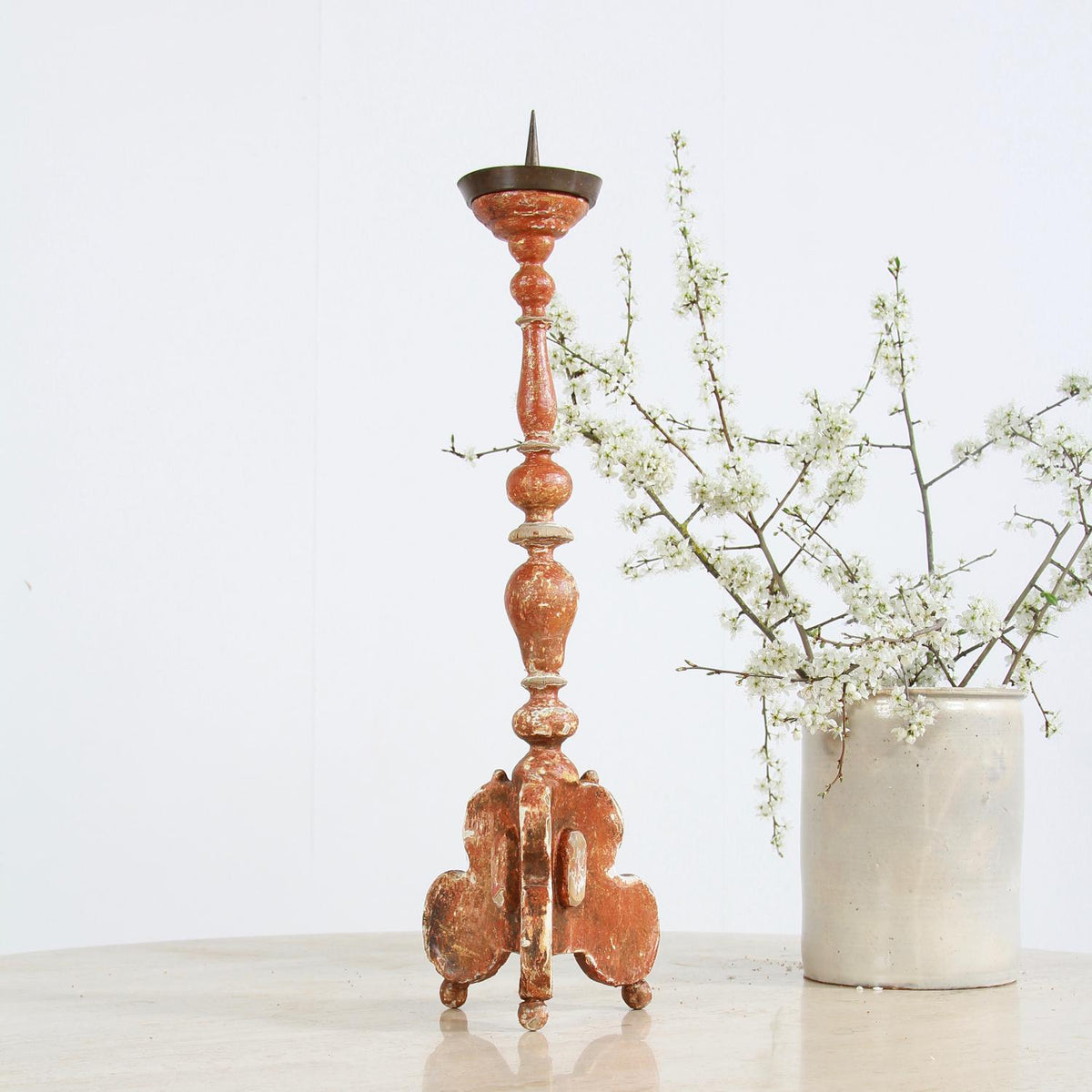 Italian 19thC Pricket Candlestick with original Gesso Patina