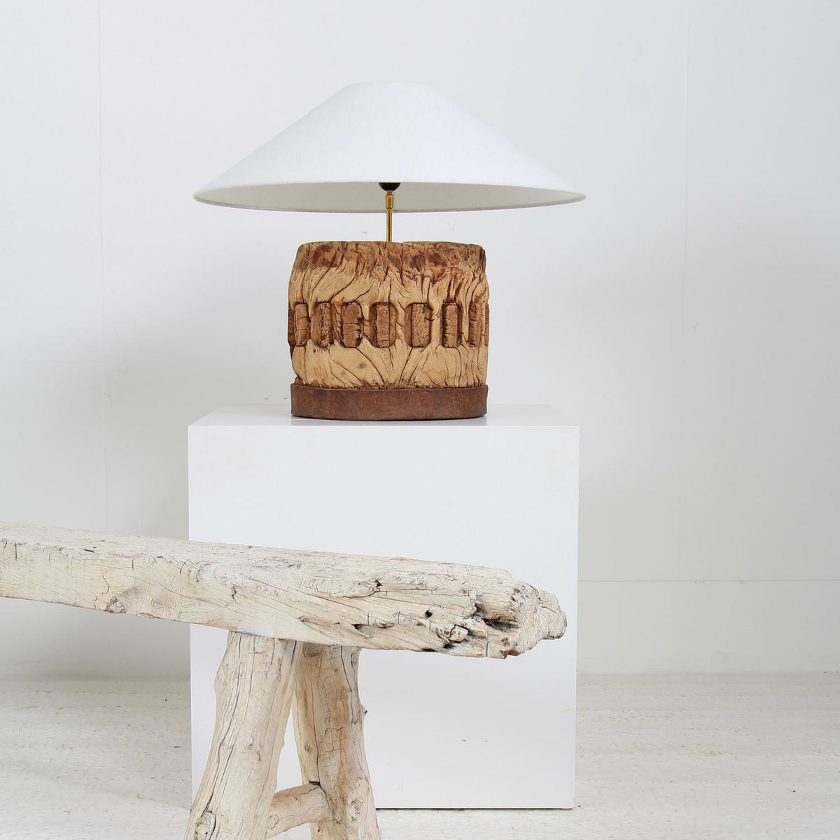MAGNIFICENT LAMP FASHIONED FROM AN ANTIQUE ARCHITECTURAL WOODEN FRAGMENT
